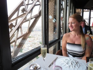 At Jules Vernes Restaurant on the 2nd floor of the Eiffel Tower... AMAZING!